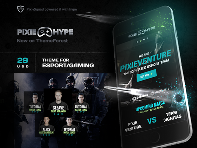 PixieHype WordPress Gaming Theme pixie esport theme rainbow blue gaming theme theme esports gaming pixiesquad pixiehype