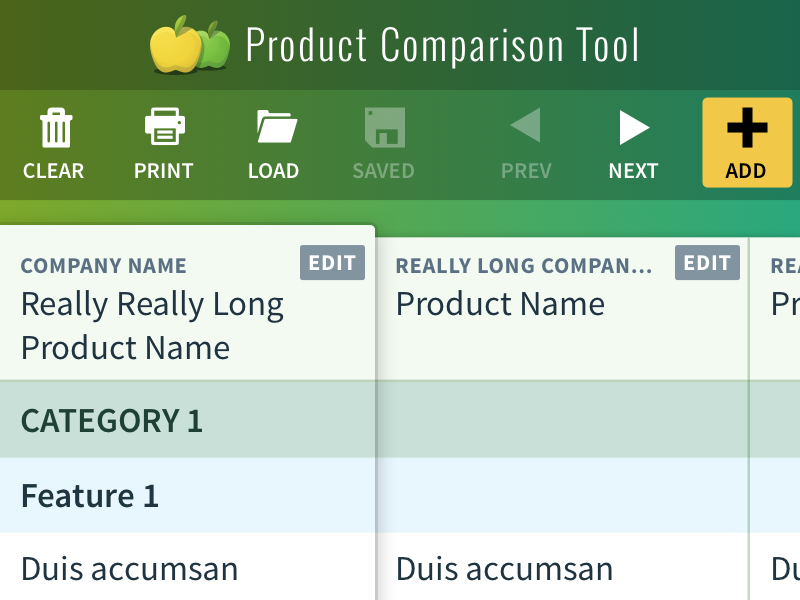 Product Comparison spreadsheet product comparison icons buttons toolbar table