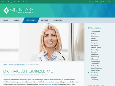 Quinlabs Profile Page dc mockup profile website identity quinlabs harleen quinzel harley quinn medical diamond