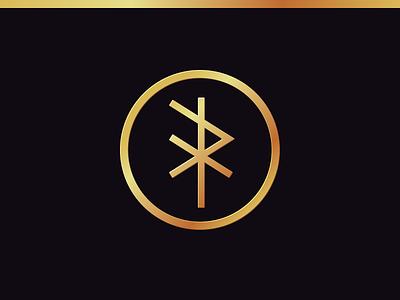 """Hrafn"" Bind Rune Monogram gradient gold raven old norse identity branding identity card logo monogram rune bind rune"