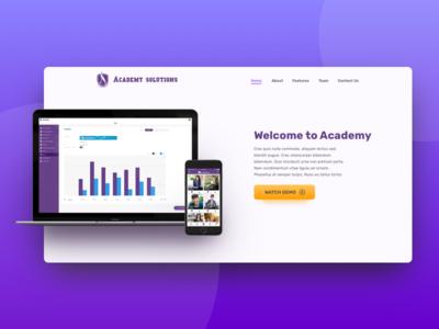 Academy Landing page ui dashboard header page website landing page landing