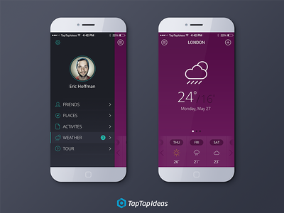 Travel App for iOS7 ios7 travel app purpel flat menu user weather friends places taptapideas iphone