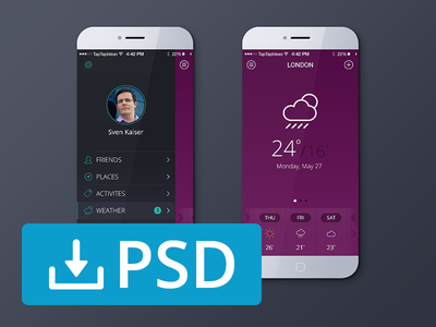 Free Weather App PSD psddd freebie psd freebies mockup weather app ios7 iphone download free