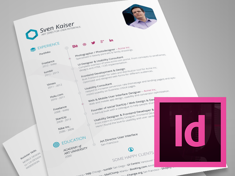 indesign template free hexagon vitaresumecv by sven kaiser dribbble - Resume Templates Indesign