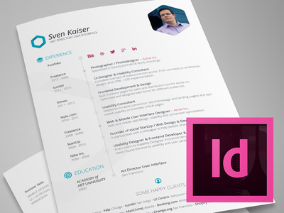 InDesign Template   Free Hexagon Vita/Resume/CV  Resume In Indesign