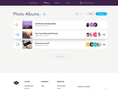 Photo Albums footer nav menu filter user listing album photo