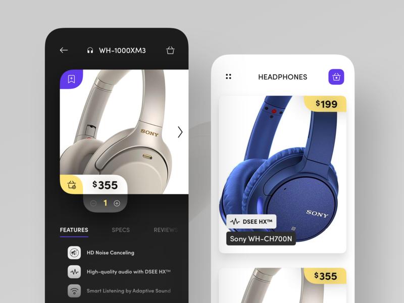 Headphones Shopping App specs features viewer image sell basket buy ecommerce shop headphones app ios