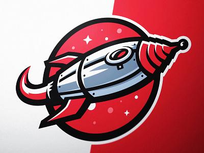 Rocketship Mascot Logo retro steampunk logo illustration illustration rocket logo identity design logo design sports logo esports gaming dasedesigns astronomy elon musk spaceship rocketship logo astronaut rocketship