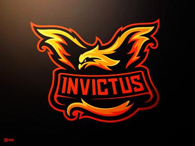 Invictus Phoenix Mascot Logo brand identity dasedesigns logo sports flames fire bird phoenix mascot gaming esports