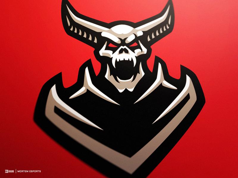 Mortem Esports Devil Warrior Mascot Logo dasedesigns branding horns skull warrior devil identity mascot mortem logo gaming esports