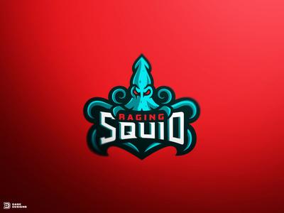 Raging Squid Mascot Logo