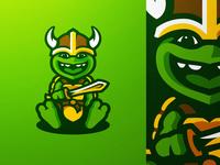Viking Turtle Mascot Logo Illustration