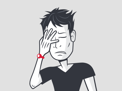 Courses 404 vector annoyed face palm character illustration