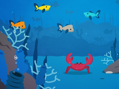 Celebrate the Pan  cartoon 2d coral reef crab seafood ocean underwater vector illustration animation