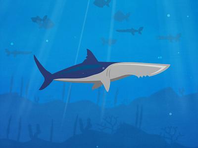 Shark Knife cartoon 2d coral reef fish under the sea underwater steak knife knife seafood shark vector illustration