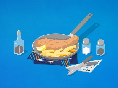 The pan in question 2d restaurant cooking pan food seafood vector isometric illustration