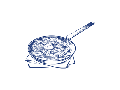 Another day, another pan restaurant illustrator simple line work yummy food pan seafood monotone illustration vector