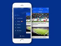 Football App - menu