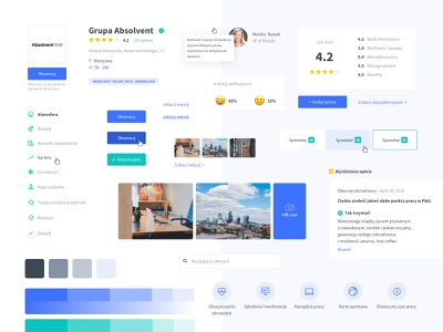 Absolvent.pl - Employer Profiles - Components style guide guide clean web employer profile components ui kit ux ui
