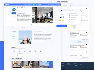 Absolvent.pl - Employer Profile web job board rating reviews clean employer profile app web design ux ui