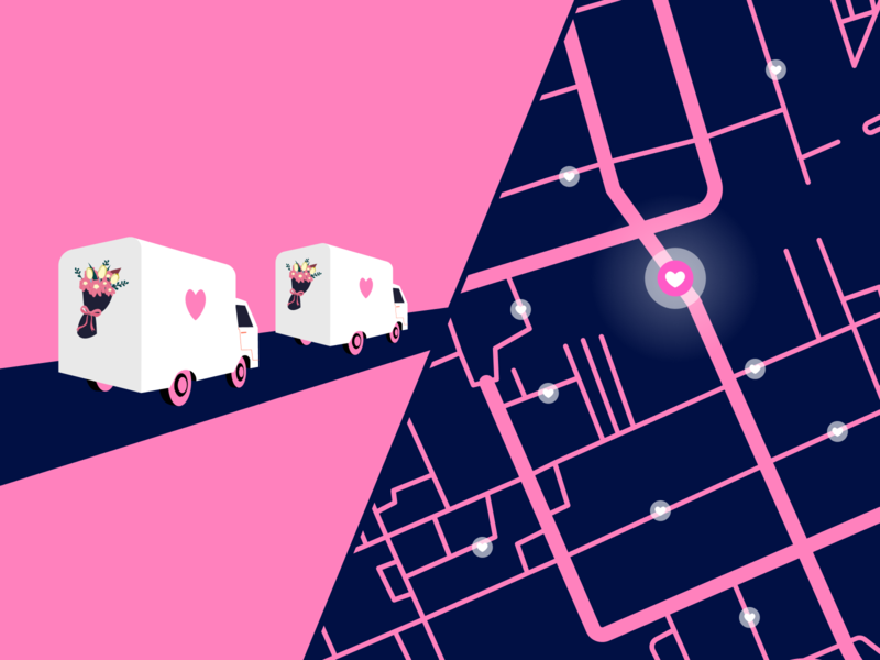 When Valentine's Day Meets Route Optimization road bouquet flowers map route optimization routes delivery truck delivery