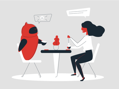 Conversation with a bot coffee experience conversation ai vector illustration bot chatbot