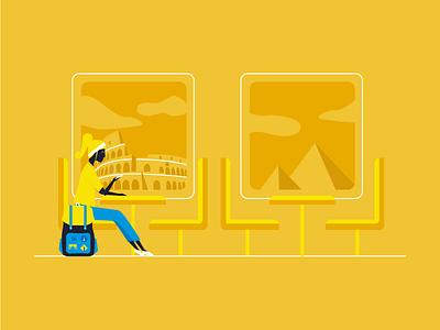 Travel pyramids illustration window backpacker woman smartphone monuments train travel