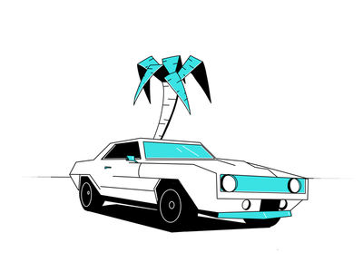 Camaro muscle car tree palm miami transporation oldtimers illustration retro camaro chevrolet car