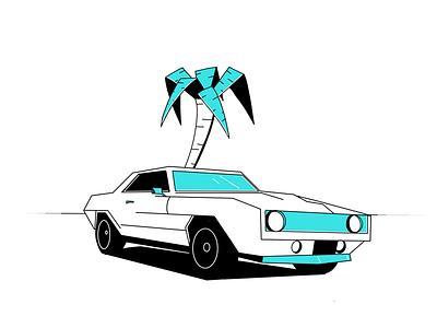 Camaro muscle car tree palm miami transporation oldtimers illustration retro camaro chevrolet car