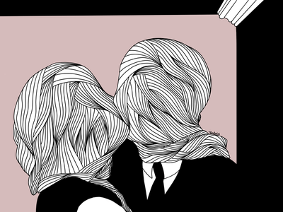 Lovers artwork minimalism lineart procreate magritte lovers surrealism illustration