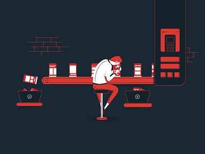 QAAAA qa tester man ux uiux ui smartphones lab tester qa illustration
