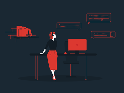 Customer Support Specialist ux mobile app digital product digital agency technician support customer care customer support customer woman illustration