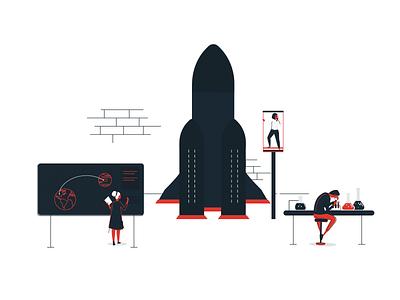 Five Lab scientists people laboratory space rocket space startup rocket lab