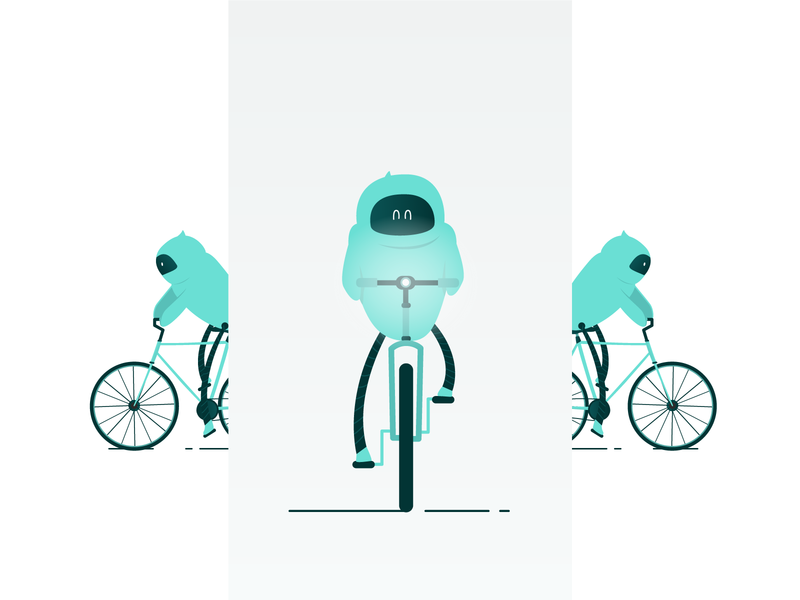 Biking Robot robotics vector biking character illustration bike robot