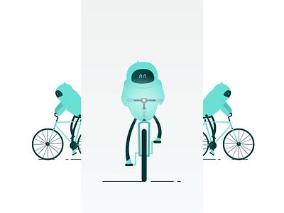 Biking Robot robotics vector biking character illustration bike robot
