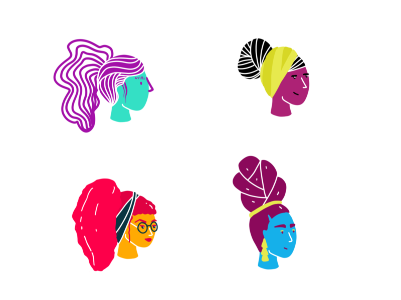 Color Exploration colors palette characters haircut diversity women people colors
