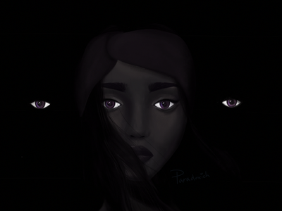 Noche character eyes skin illustration painting woman night