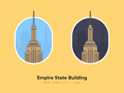 Empire State Building Illustration 🇺🇸 🏢 night day yellow empire state building flat pastel usa united states new york illustration