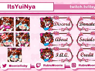 5 Emotes + 6 Panels for ItsYuiNya branding graphic design kawaii cute chibi vtuber twitchpanel twitchemote emote