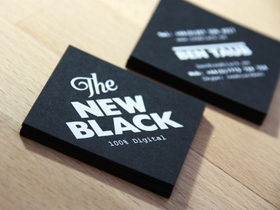 'The New Black' Business Cards identity business card logo format print stationery square branding black stock business cards