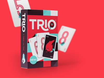 Trio - Full project now published! brand branding packaging identity logo card game playing card playing cards character cute