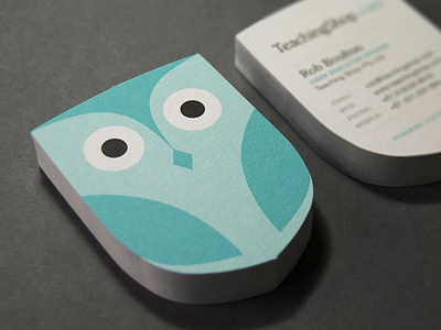 Teachingshop Business Card identity logo owl teachingshop business card stationery uncoated stock blue turquoise branding
