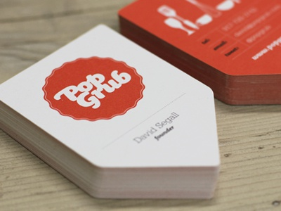 Pop Grub Business Cards business cards identity branding logo red die-cut brand stationery