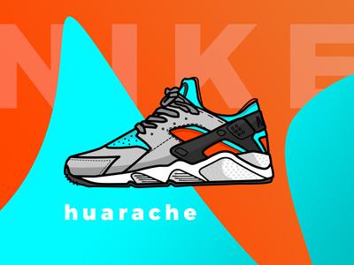 Nike Huarache sneakers shoes design vector illustrator huarache nike