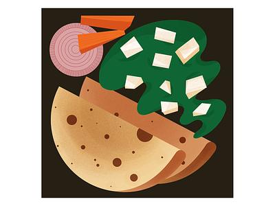 Palak Paneer minimal culture cuisine india homefood indianfood quarantine illustrator digital illustration illustration