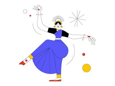 Holding a Pose bharatnatyam fun dance india character design minimal digital illustration illustration