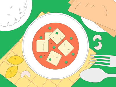 Paneer Butter Masala eating paneer india food minimal illustrator digital illustration illustration
