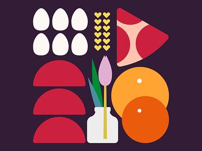 Breakfast Platter fruits still life fun food illustrator minimal digital illustration illustration