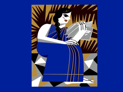 Bold and Beatiful saree travel culture papercut tribal blue linocut blockprint editorial procreate painting bold india woman books reading illustrator characterdesign digital illustration illustration
