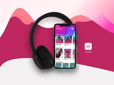 Music Box app trending music musicplayer ui design ux ui vector color colors typography icon mark grid illustration lettering logo
